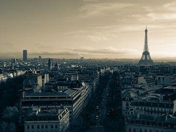 Paris-Skyline im Sepia von Martijn Joosse
