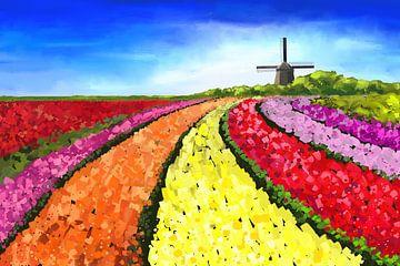 Landschaftsbild mit Tulpenfeldern und Windmühle von Tanja Udelhofen