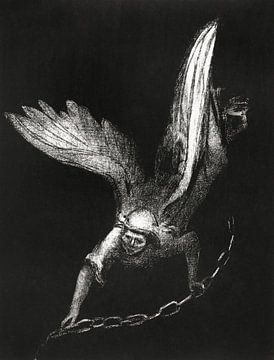 Engel mit Kette in Schwarz, Odilon Redon, 1899