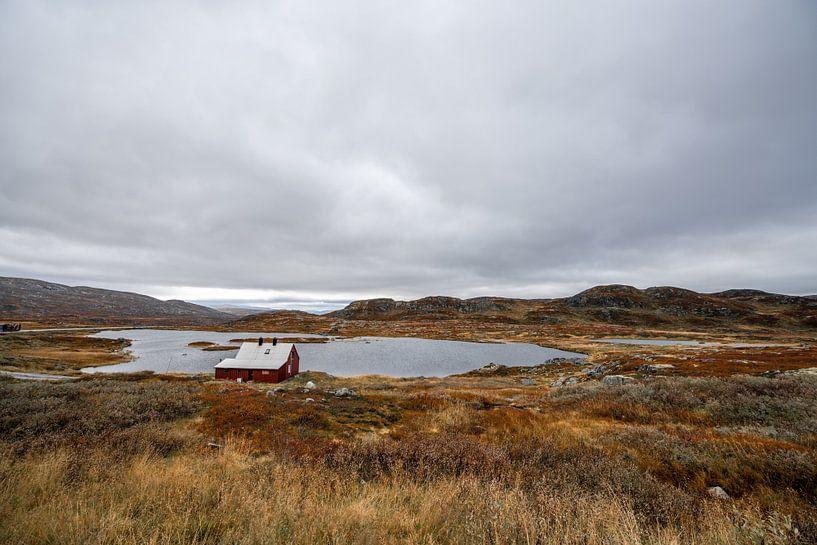 Huisje aan een klein meertje in Noorwegen van Mickéle Godderis