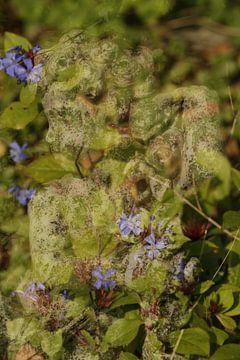 Betonnen engeltje met blauwe bloemen van Cora Unk