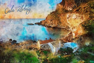 Aquarell Spanien Cala Llebeig Moraira von Peter Bolman