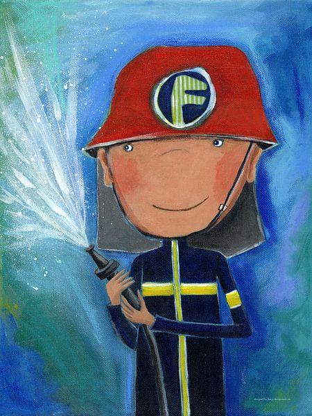 Vaak Brandweerman - Schilderij voor Kinderen van Atelier BuntePunkt op &BR67