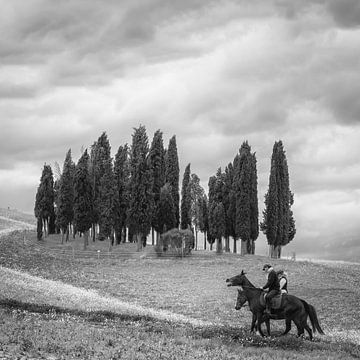 Italië in vierkant zwart wit, Toscane von Teun Ruijters