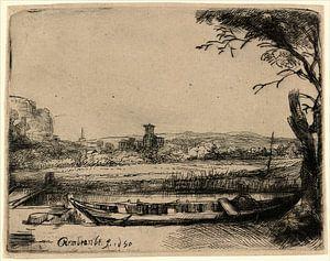Kanaal met een grote boot en Brug