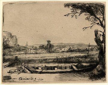 Kanal mit einem großen Boot und Brücke