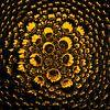 Zonnebloem in druppels (vierkant) van Marjolijn van den Berg thumbnail
