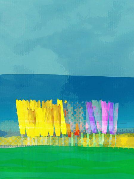 Lisse bloemen geel op blauw van Joost Hogervorst