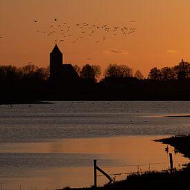 silhouet van Zalk in het oranje avondlicht van Michel Knikker