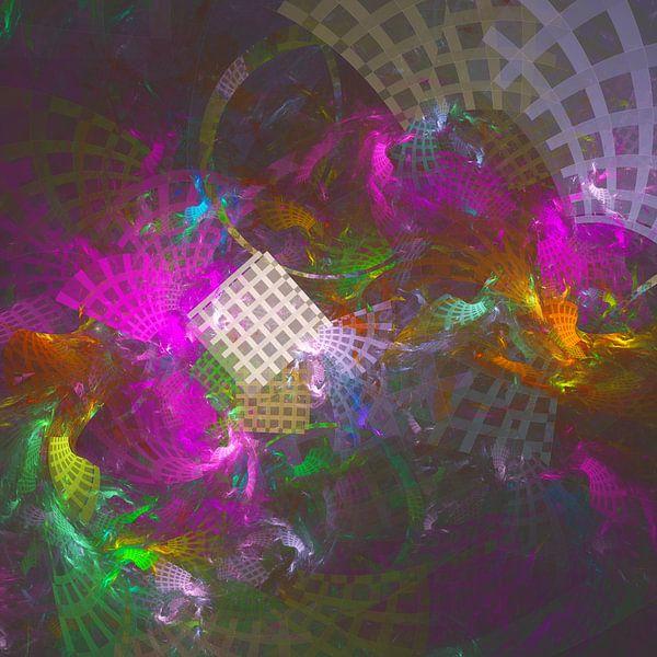 Reizen door de tijd matrix abstract fractal kunstwerk van Pat Bloom - Moderne 3D, abstracte kubistische en futurisme kunst