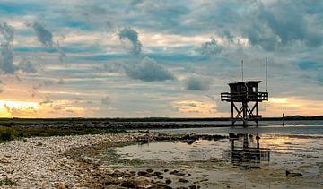 Zonsondergang duik locatie Scharendijke, Grevelingen van Marjolein van Middelkoop