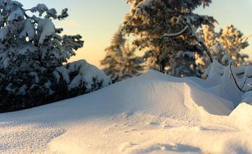 Kleine Schneedünen beleuchtet von der untergehende Sonne. von André Post