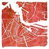 Amsterdam Centrum en Noord | Stadskaart Rood | Vierkant met Witte kader van - Wereldkaarten.shop - thumbnail