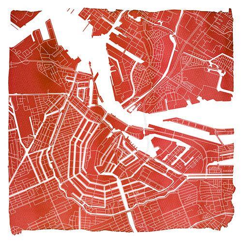Amsterdam Centrum en Noord | Stadskaart Rood | Vierkant met Witte kader van