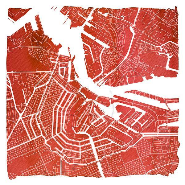 Amsterdam Centrum en Noord | Stadskaart Rood | Vierkant met Witte kader van Wereldkaarten.Shop