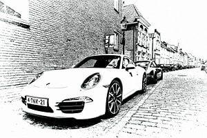 Oude en nieuwe Porsche in Heusden als artwork