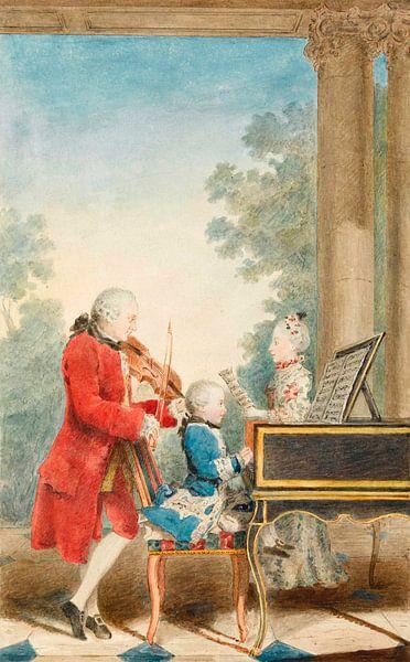 Porträt von Mozart beim Spielen in Paris mit seinem Vater und seiner Schwester Louis Carrogis Carmon von Meesterlijcke Meesters
