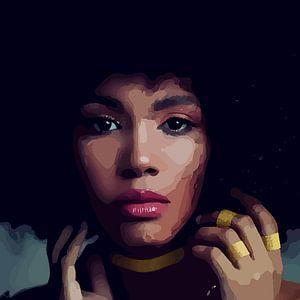 """""""Etnische perfectie"""" - Prachtige jonge zwarte vrouw met Afro haar met mooi gezicht, prachtige ogen e"""