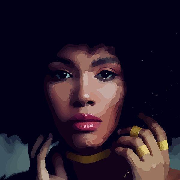 """""""Etnische perfectie"""" - Prachtige jonge zwarte vrouw met Afro haar met mooi gezicht, prachtige ogen e van The Art Kroep"""