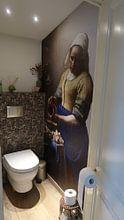 Kundenfoto: Dienstmagd mit Milchkrug - Vermeer gemälde, auf nahtloser fototapete