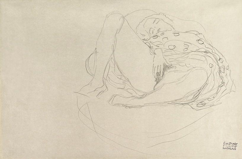 Liegender Akt mit Drapierung, Gustav Klimt (1912-1913) von Meesterlijcke Meesters