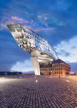 Illuminated Anvers Maison Port au crépuscule avec place pavée sur Tony Vingerhoets