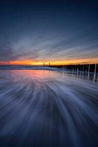 Deep Blue (brise-lames au coucher du soleil en Zélande)