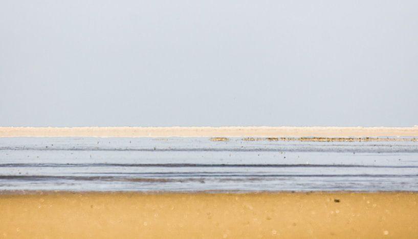 Landschap van lijnen bij de Waddenzee. van Ron Poot