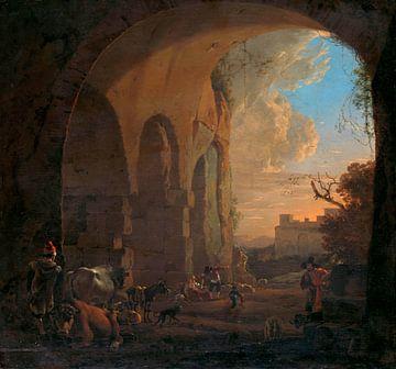 Drovers met Vee onder een Boog van het Colosseum in Rome, Jan Asselijn