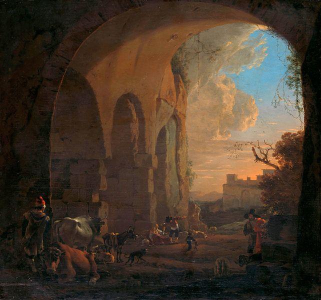 Viehtreiber mit Rindern unter einem Bogen des Kolosseums in Rom, Jan Asselijn von Meesterlijcke Meesters