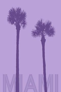 Grafische kunst PALMBOMEN MIAMI | violet van Melanie Viola