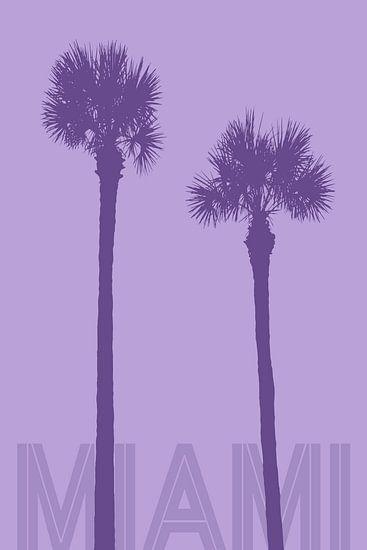 Grafikkunst PALMEN MIAMI | violett