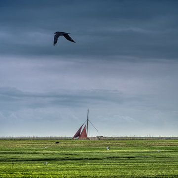 Segelboot auf dem Johan-Friso-Kanal in Südwestfriesland