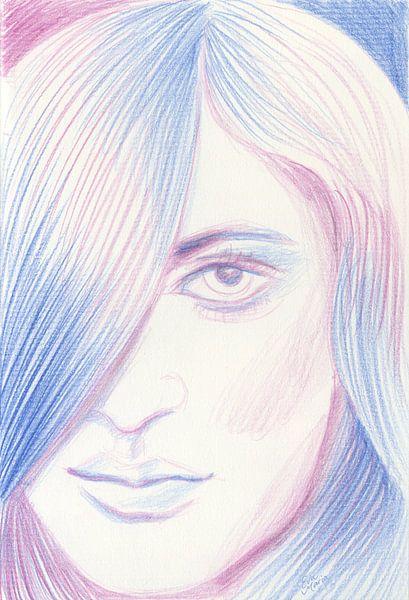Blauw en roze haar van Eva van den Hamsvoort
