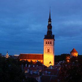 Sint-Nicolaaskerk, Niguliste Kirik, Uitzicht vanaf de Kathedraalheuvel naar de benedenstad, Oude Sta van Torsten Krüger