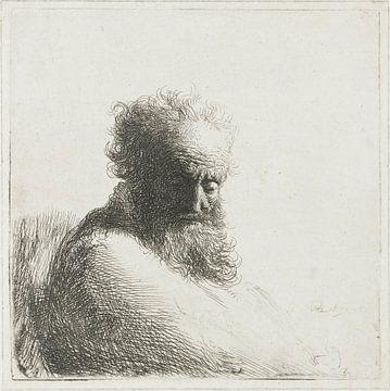 Le vieil homme regarde en bas : trois quarts, à droite, Rembrandt van Rijn