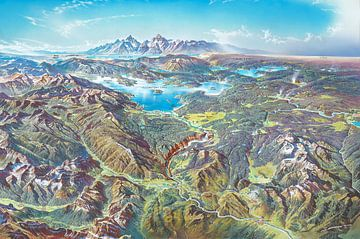 Carte du parc national de Yellowstone (avec étiquettes), Heinrich Berann sur Creatieve Kaarten