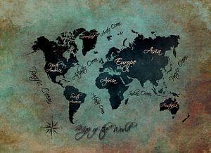 wereldkaart groen zwart #kaart van JBJart Justyna Jaszke