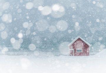 Het rode huisje van Ramberg op de Lofoten