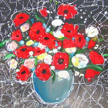 Modern schilderij van bloemen met klaprozen van Nicole Roozendaal