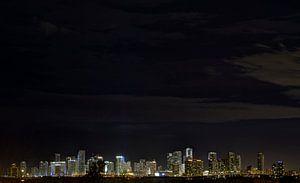 Miami Skyline bij Nacht