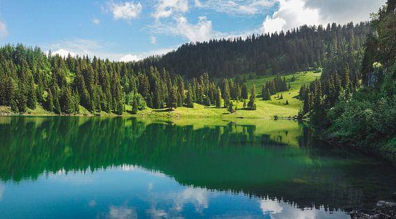 Reflectie in een bergmeer van Jesse Barendregt