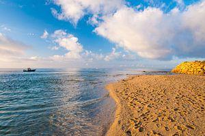Vissen bij zonsopkomst op zee voor het strand van