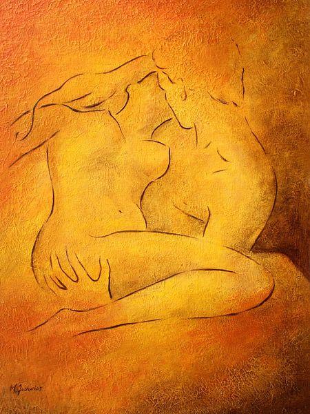 Flammende Leidenschaft - Aktmalerei Liebespaare von Marita Zacharias