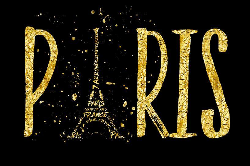 PARIS Typografie   gold splashes von Melanie Viola