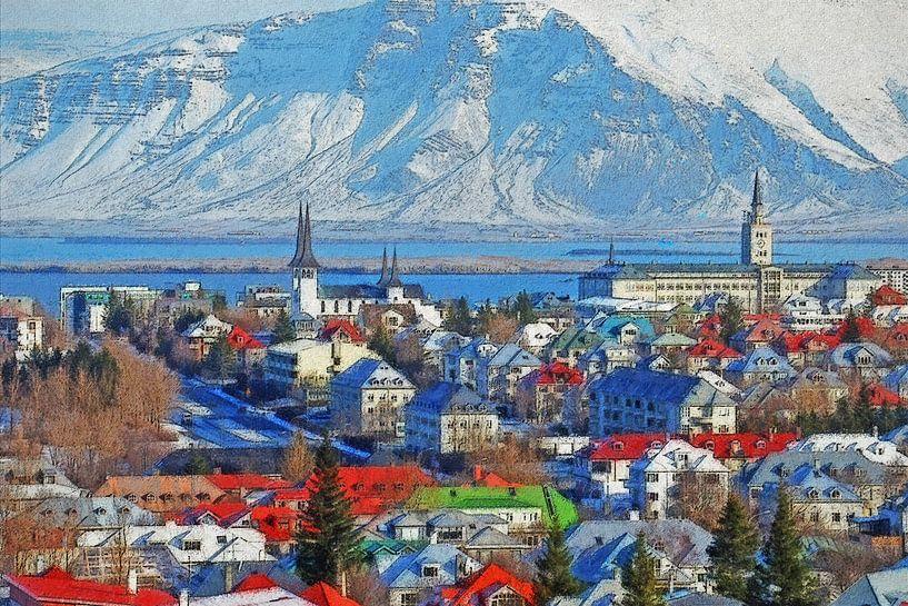 Winter in Reykjavik, IJsland van Frans Blok