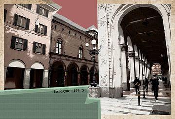 retro ansichtkaart van Bologna, Italië van Ariadna de Raadt