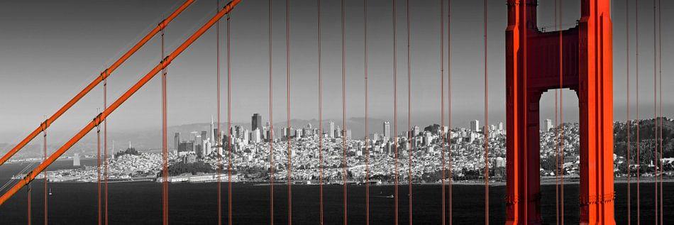 Golden Gate Bridge Panoramisch uitzicht op de binnenstad van Melanie Viola