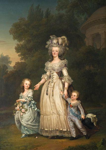 Königin Marie Antoinette von Frankreich und zwei ihrer Kinder gehen im Park von Trianon spazieren, A von Meesterlijcke Meesters