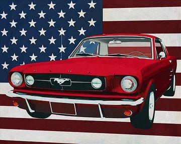 Ford Mustang 1964 GT voor de Amerikaanse vlag...